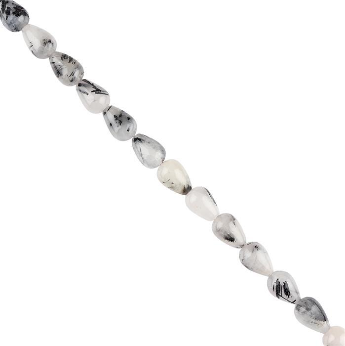 130cts Black Rutile Quartz Plain Drops Approx 13x9mm, 18cm Strand.