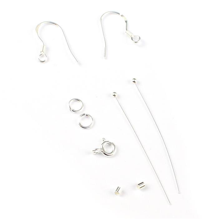 925 Sterling Silver Mini Findings Pack (9 pieces)