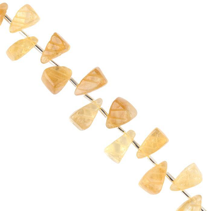 160cts Citrine Graduated Carved Pyramid Drops Approx 10x6 to 16x9mm, 18cm Strand.