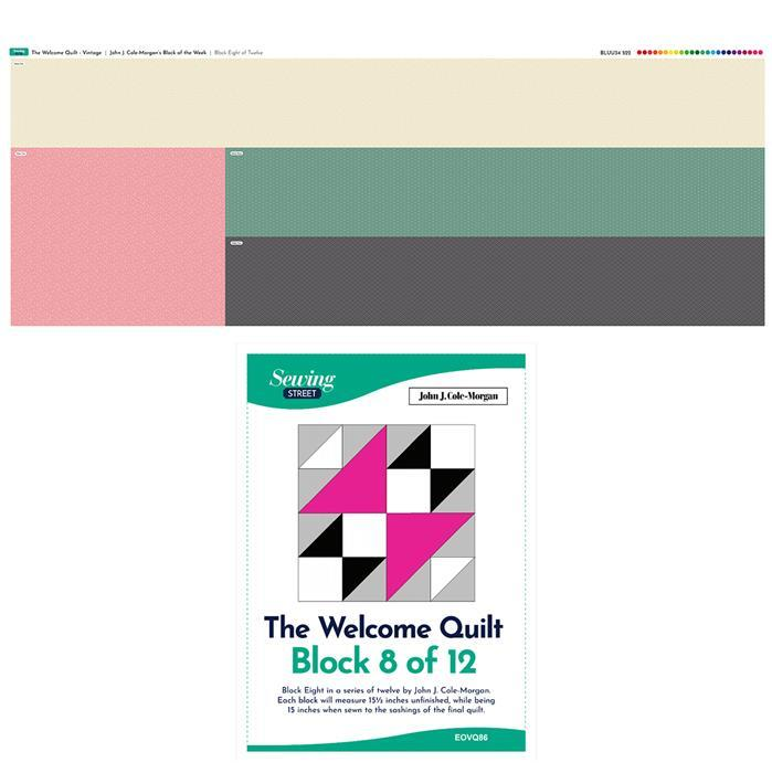 John Cole-Morgan's Block of the Week - Block 8. Vintage 'Welcome Quilt' Block Kit: Fabric Panel & Instructions