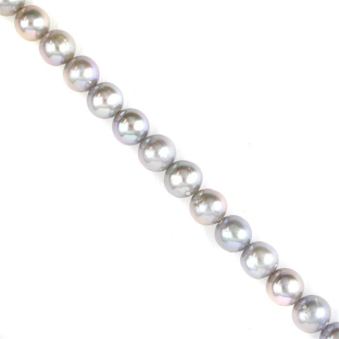 Silver Grey Freshwater Cultured Pearl Near Round Pearls Approx 7x6mm, 38cm Strand