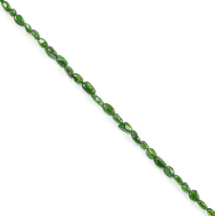 60cts Chrome Diopside Small Nuggets Approx 5x4mm to 9x6mm, Approx 38cm Strand