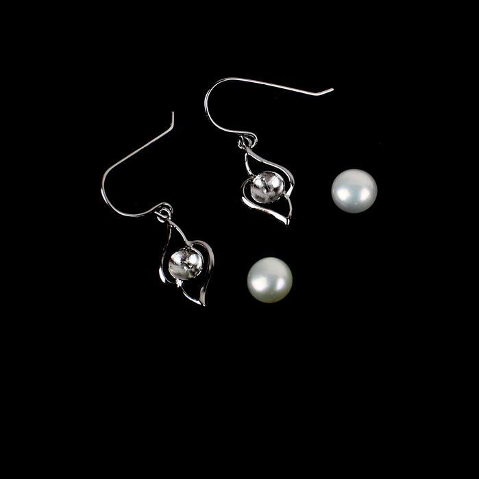 925 Sterling Silver Fancy Shepherds Hooks 26mm Drop with White Freshwater Pearl Buttons 6-7mm