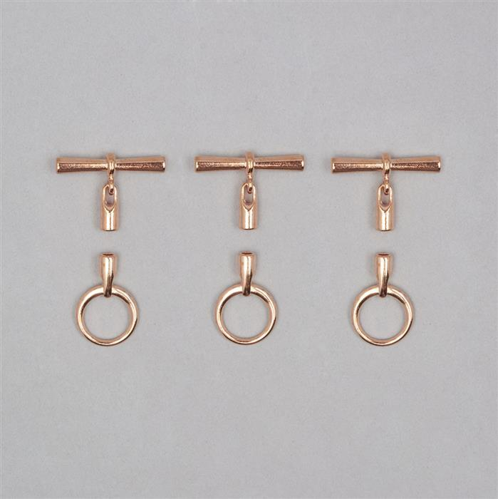 Rose Gold Coloured Toggle Clasp with Cord Ends 3.2mm (3pcs)
