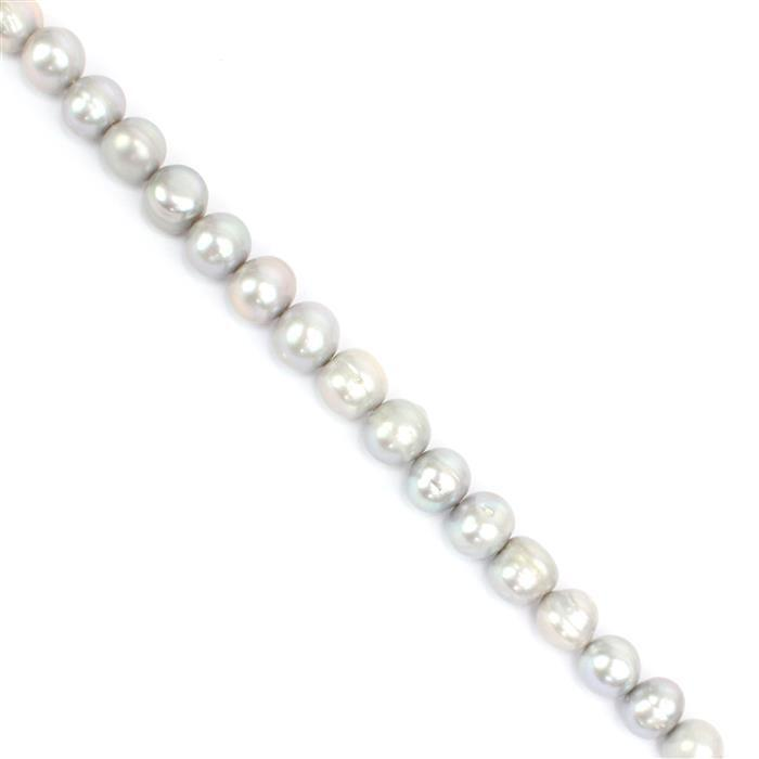 Silver Freshwater Cultured Pearl Potato Beads Approx 11-12mm, 38cm Strand