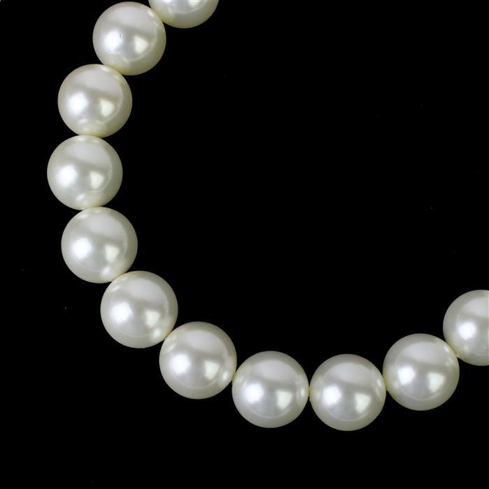 Cream Shell Pearl Plain Rounds Approx 20mm 38cm Strand
