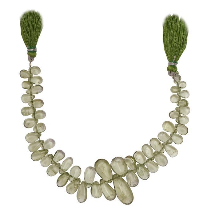 100cts Green Amethyst Graduated Plain Pears Approx 5x4 to 16x8mm, 16cm Strand.