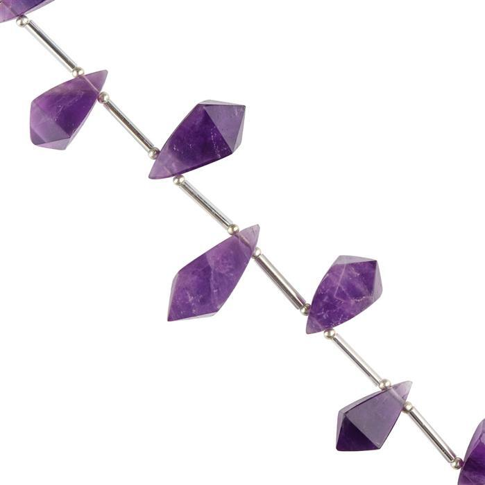90cts Amethyst Graduated Faceted Pyramid Shapes Approx 16x9 to 22x10mm, 16cm Strand.