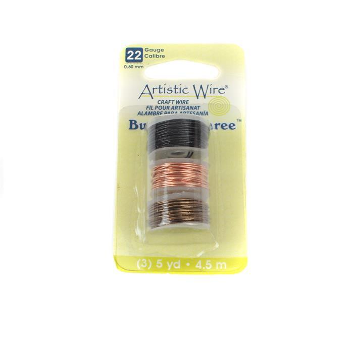 Artistic Wire Buy-The-3, Black, Natural, Antique Brass, 22 Gauge 0.60mm/4.5m