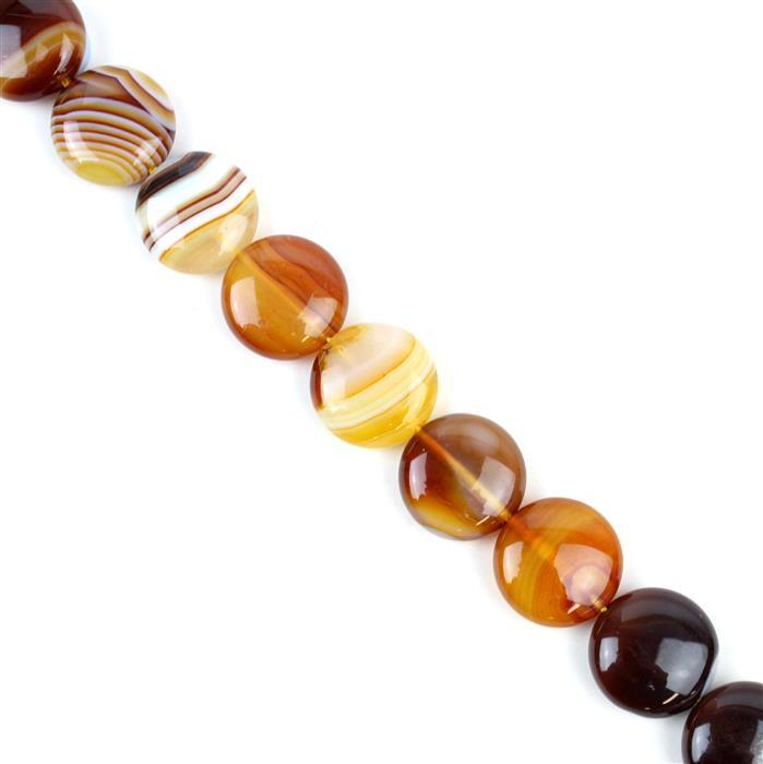 310cts Coffee Stripe Agate Puffy Coins Approx 16mm, 38cm/strand