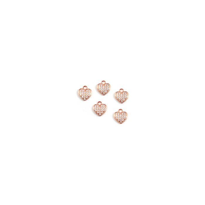 Rose Gold Plated True Love Collection Mini Heart Charms 925 Sterling Silver and Cubic Zirconia 6.3mm 5pk