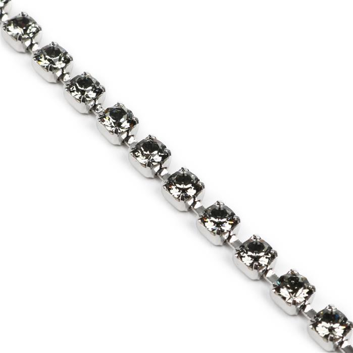 Swarovski Cupchain, Black Diamond, Rhodium Plating, PP32, 27104, Pk50cm