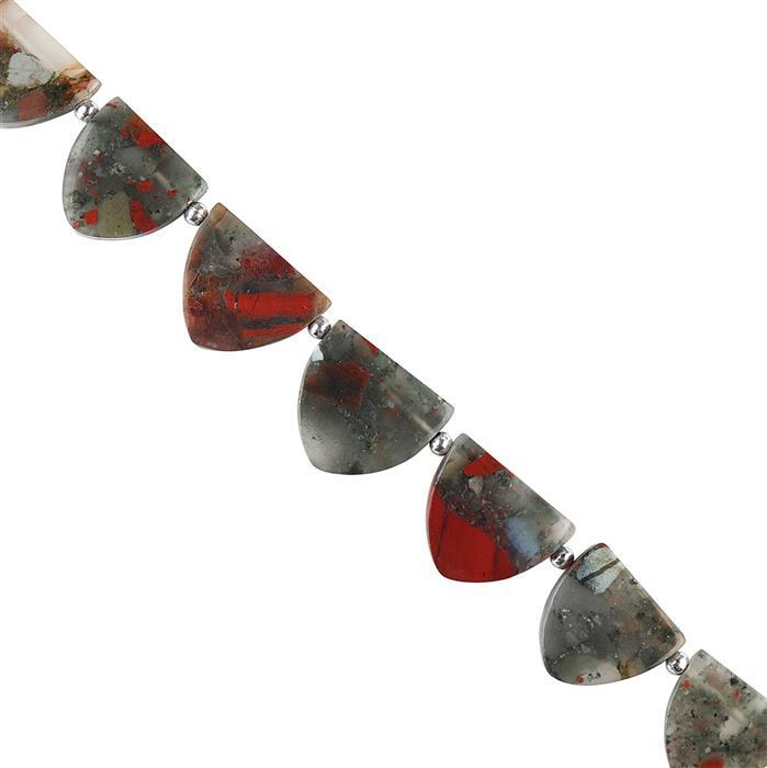 105cts Bloodstone Graduated Plain Shields Shape Approx 13x13 to 16x18mm, 16cm Strand.