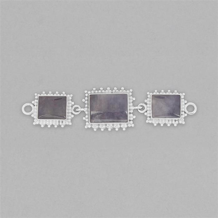 925 Sterling Silver Gemset Triple Linked Connector Approx 75x19mm Inc. 21cts Tanzanite Cushion Cabochon