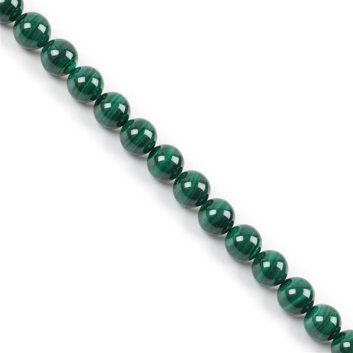 380cts Malachite Plain Rounds Approx 10mm, 38cm strand