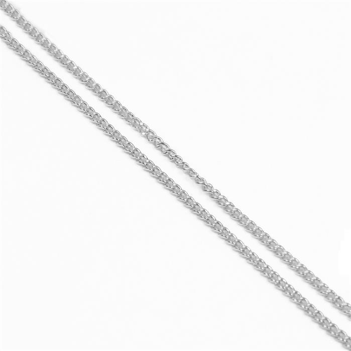 Silver Coloured Brass Curb Chain - 1x1.6mm (1m)