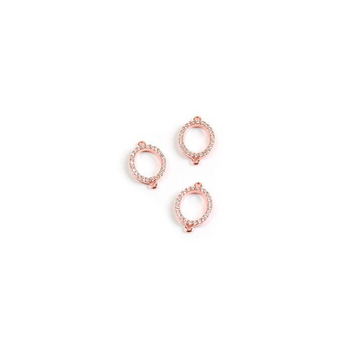 Rose Gold Plated 925 Sterling Silver and Cubic Zirconia Abby Collection Connectors Approx 9x14mm 3pk