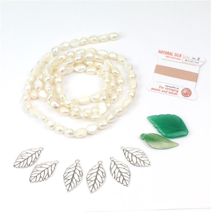 Leafy:1m white cultured freshwater pearls,2 green agate leaf pendants,silk thread & charms