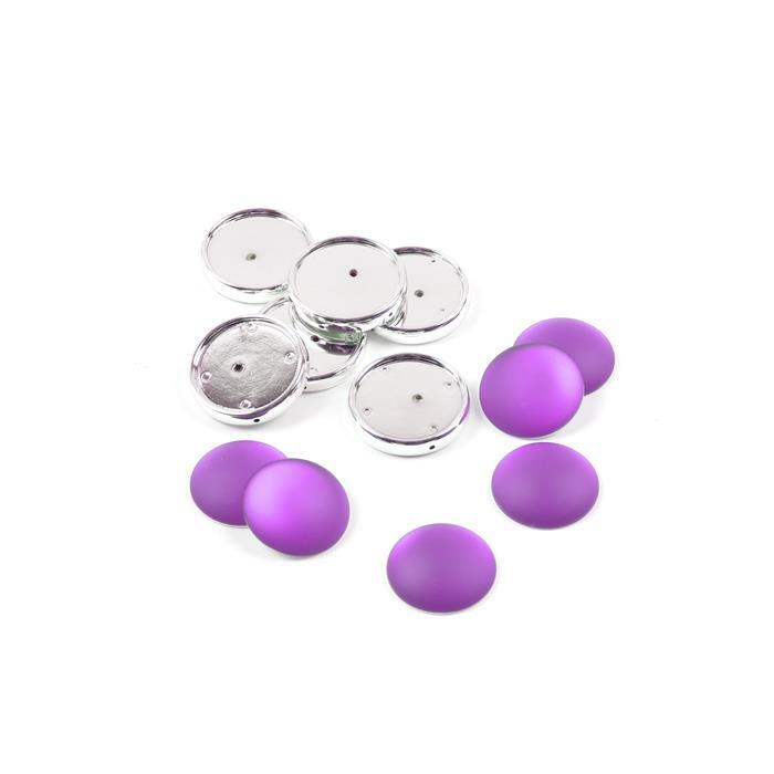 Grape Luna Cabochons with Frame Approx 24mm (6pk)