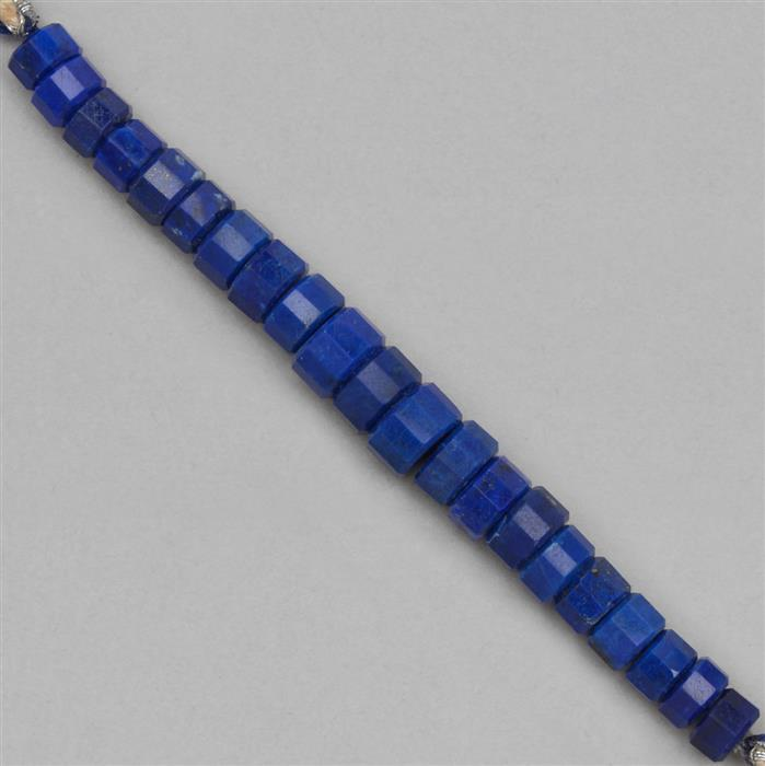 58cts Lapis Lazuli Graduated Step Cut Wheels Approx 5x3 to 9x4mm, 8cm Strand.