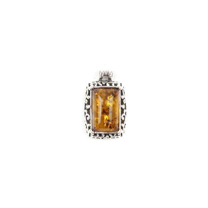 Baltic Cognac Amber Rectangular Cabochon pendant / Charm in a Sterling Silver Element Approx 16x10mm