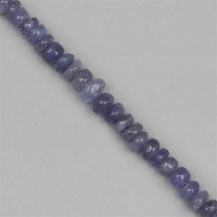 55cts Tanzanite Graduated Plain Rondelles Approx 3x1 to 6x3mm, 18cm Strand.