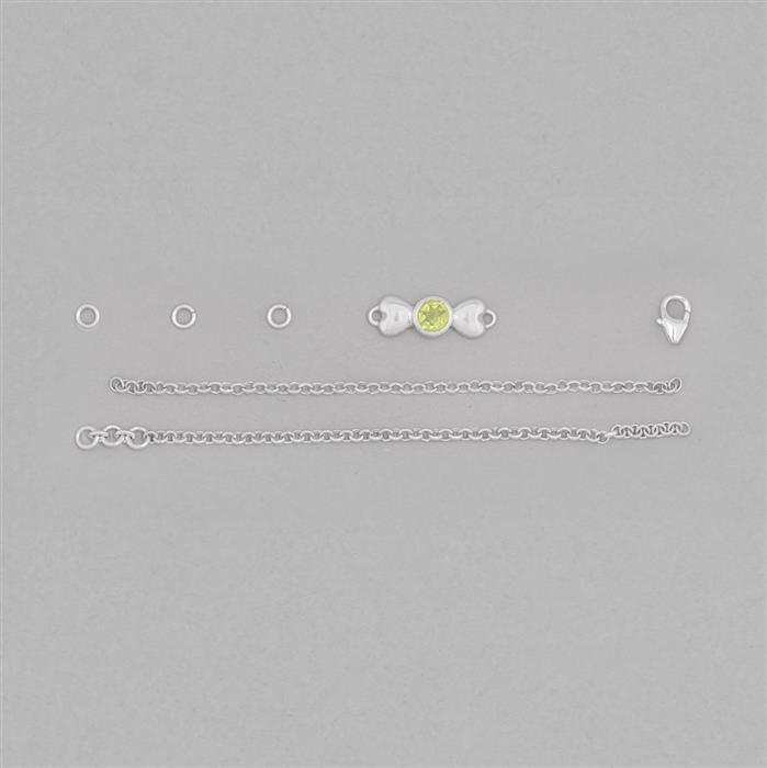 Birthstone Kit: 925 Sterling Silver Bracelet Kit Inc. 0.50cts Peridot Round Approx 5mm