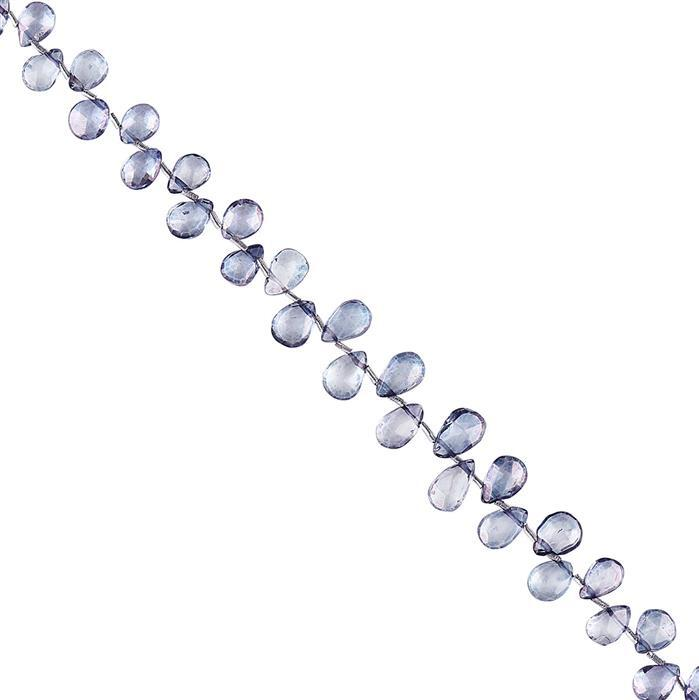 35cts Blue Colour Coated Topaz Graduated Faceted Pears Approx 6x4 to 8x5mm, 18cm Strand.