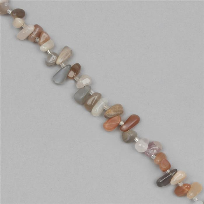 85cts Multi-Colour Moonstone Graduated Irregular Plain Drops Approx 3x2 to 10x4mm, 31cm Strand.