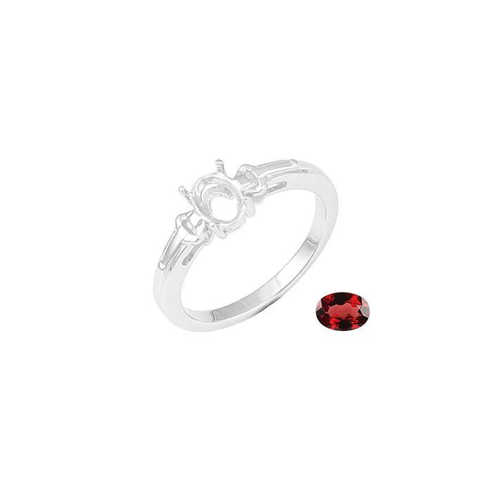 Size 7 925 Sterling Silver Ring Mount Fits 7x5mm Inc. 0.80cts Garnet Brilliant Oval 7x5mm.