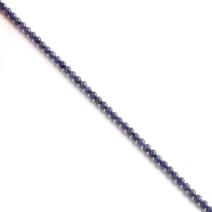 90cts Tanzanite Plain Rounds Approx 5-6mm, 38cm Strand