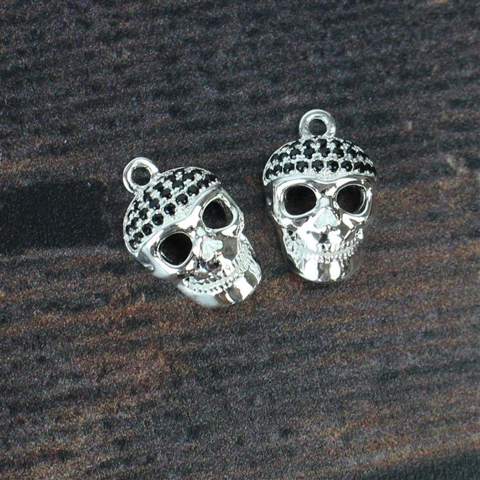 925 Sterling Silver and Black Cubic Zirconia Skull Charm 6x10mm 2pk