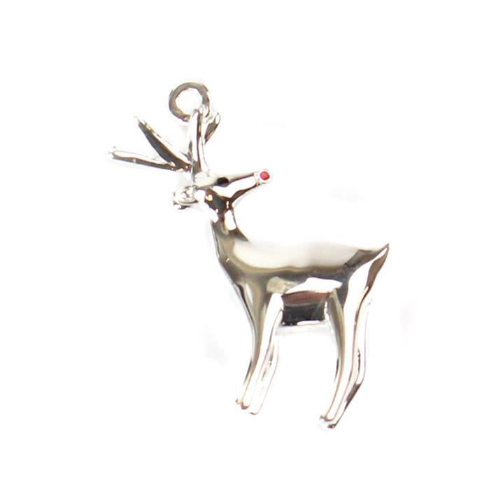 925 Sterling Silver 3D Reindeer Charm with Red Enamel Nose Approx 20x18mm, 1pc