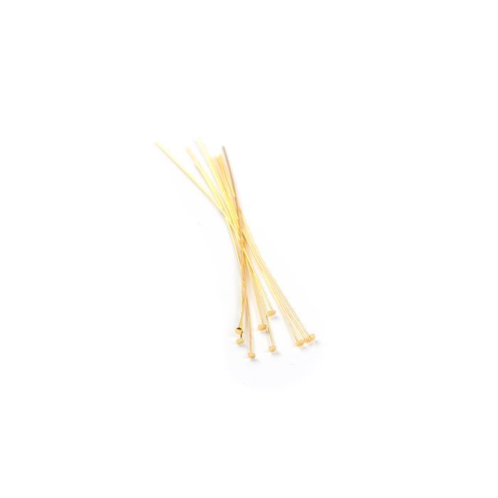 925 Gold Plated Sterling Silver Headpins - 38mm (0.5mm) - (20pcs/pk)