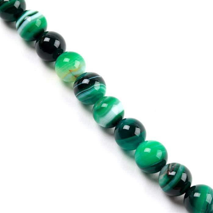 520cts Dark Green Stripe Agate Plain Rounds Approx 14mm, Approx 38cm/strand