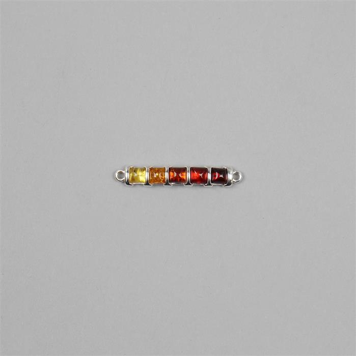 Baltic Cherry, Cognac, Lemon Amber Squares Connector with Sterling Silver Connector Approx 32x5mm