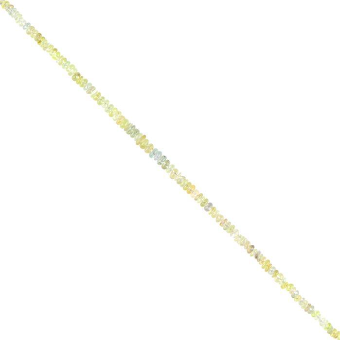 15cts Chrysoberyl Graduated Plain Rondelles Approx 2x1 to 3x1mm, 18cm Strand.