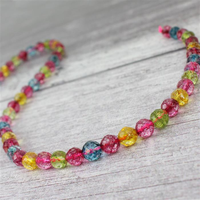 140cts Multi-Colour Quartz Faceted Rounds Approx 8mm 38cm strand