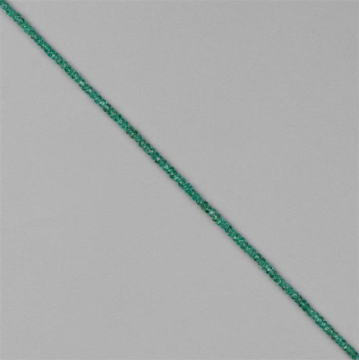 9cts Colombian Emerald Graduated Faceted Rondelles Approx 2x1 to 3x2mm, 18cm Strand.