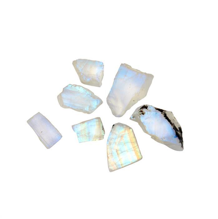 70cts Rainbow Moonstone Drilled Rough Assortment.