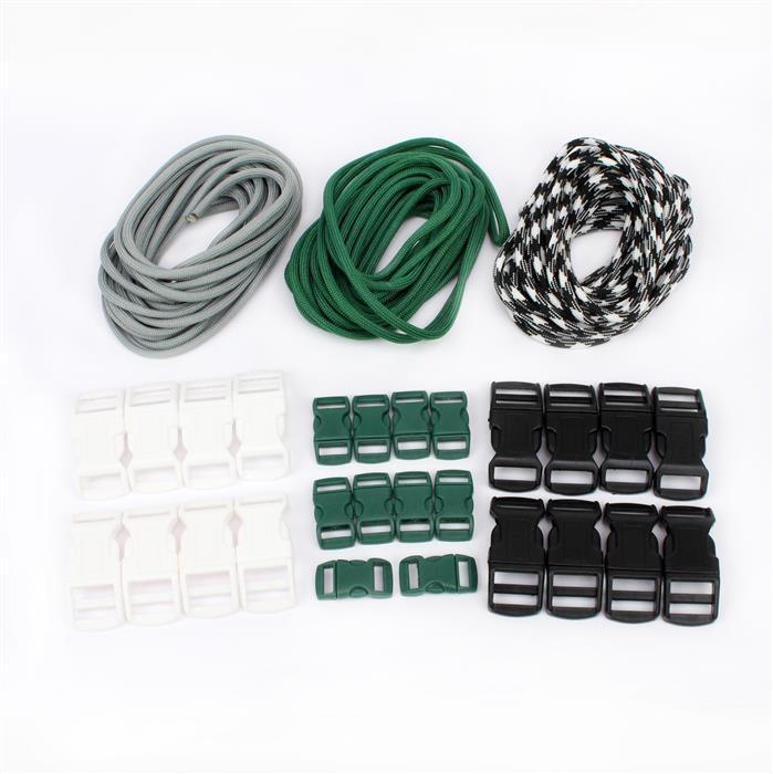 Winter: Black,green & white buckles & grey,black, green & black & white pattern paracords