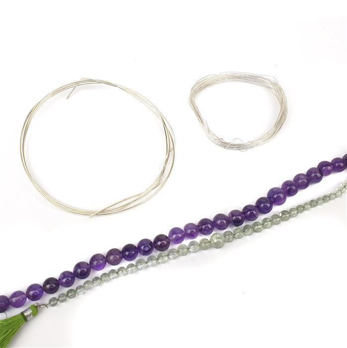 Take Flight INC Purple and Green Amethyst Rounds, 5m 0.4mm & 1m 1.0mm Sterling Silver Wire