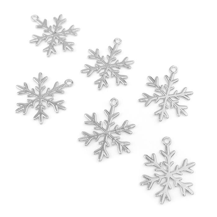 Silver Plated Base Metal Snowflake Pendants Approx 24mm (6pcs)