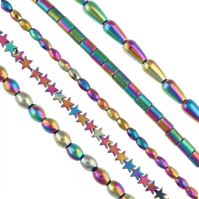 820cts Mystic Coated Heamatite Graduated Plain & Faceted Multi Shape Approx 1.90metre Strand.