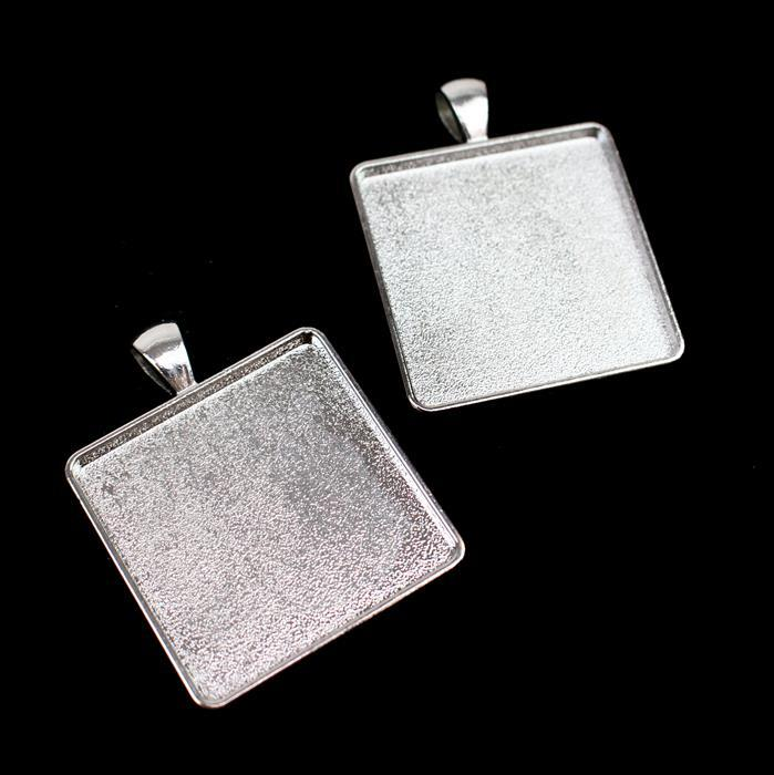 Silver Colour Rectangle Bezel Pendant Approx 33x42mm (Set of 2)