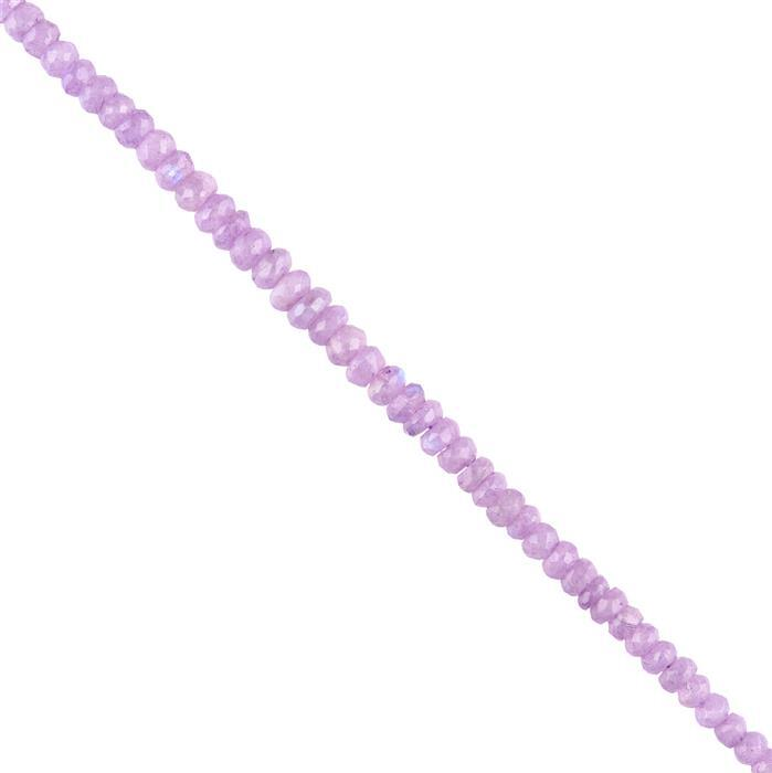 75cts Purple Coated Rainbow Moonstone Graduated Faceted Rondelles Approx 4x2 to 7x3mm, 20cm Strand.