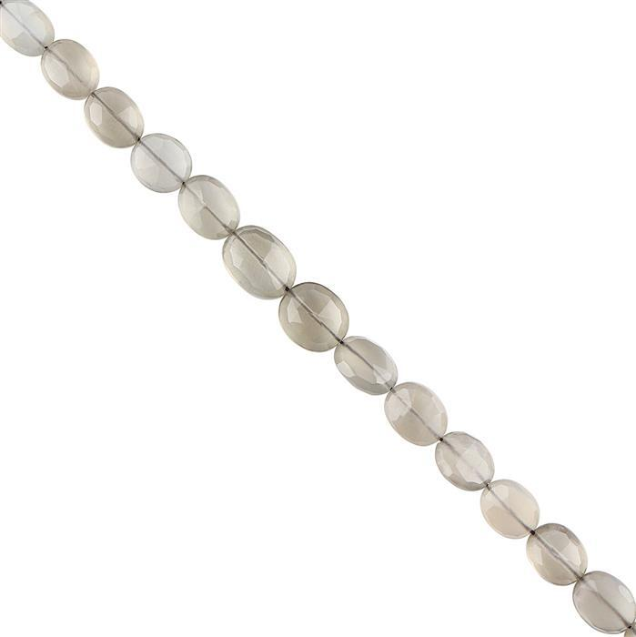 52cts Grey Moonstone Graduated Faceted Ovals Approx 7x6 to 11x8mm, 18cm Strand.