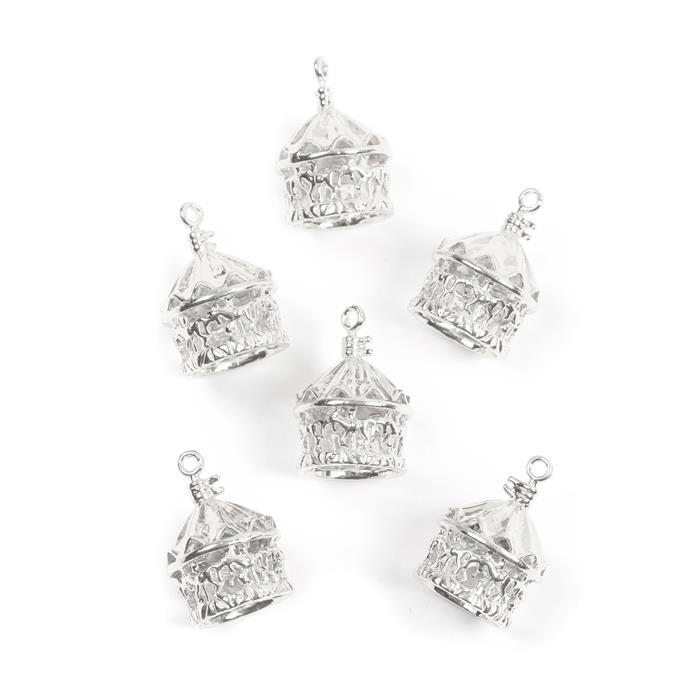 Silver Plated Base Metal Carousel Pendants Approx 23x15mm(6pcs)