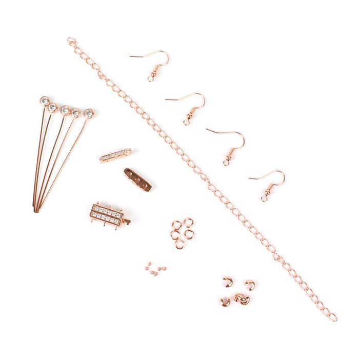 Rose Gold Plated Base Metal Vintage CZ Findings Pack (28pcs)