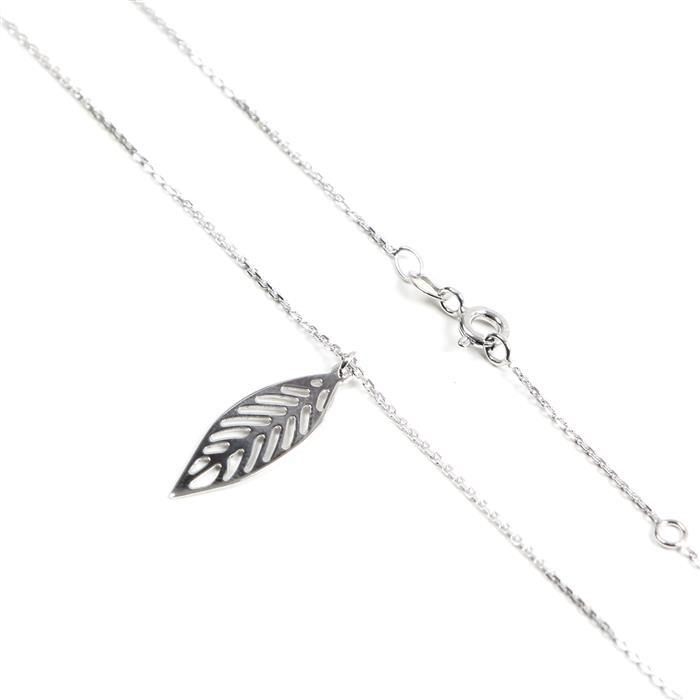 Sterling Silver Rhodium Plated Leaf Necklace 41cm/16'-46cm/18'